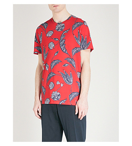 TED BAKER Floral-print cotton T-shirt (Coral