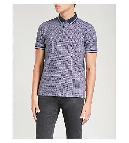 TED BAKER Norris cotton-piqué polo shirt (Navy