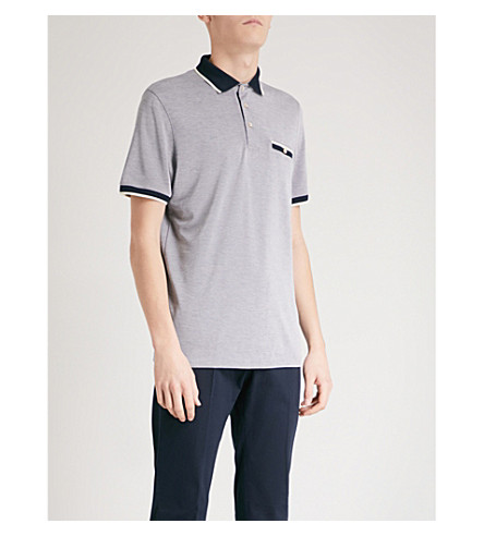 TED BAKER Striped-trim woven polo shirt (Navy