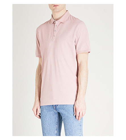 TED BAKER Boxer geometric-print cotton polo shirt (Dusky+pink