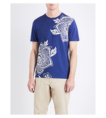 TED BAKER Floral-print cotton T-shirt (Blue