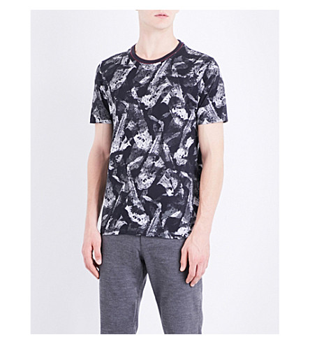 TED BAKER Trumpet-print cotton-jersey T-shirt (Black