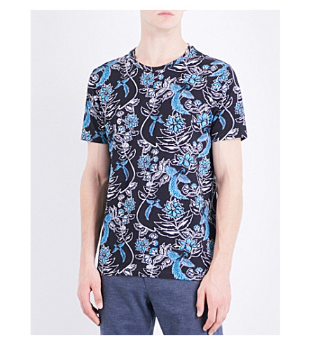 TED BAKER Nature-print cotton-jersey T-shirt (Black