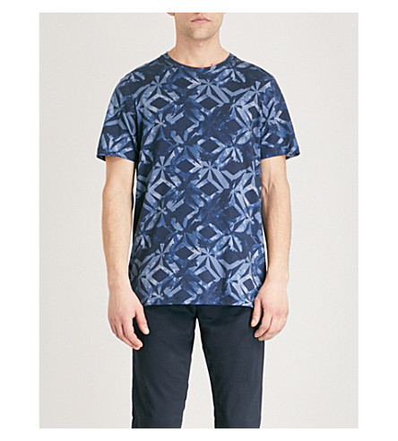 TED BAKER Woof geometric-pattern cotton T-shirt (Dark+blue