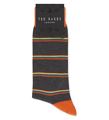 TED BAKER Multi-stripe cotton-blend socks (Charcoal