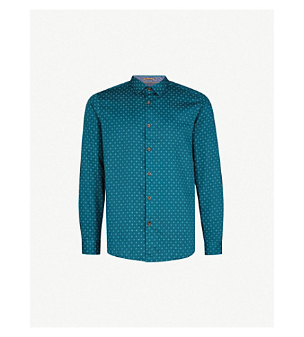 TED BAKER Diamond-print regular-fit cotton shirt (Teal