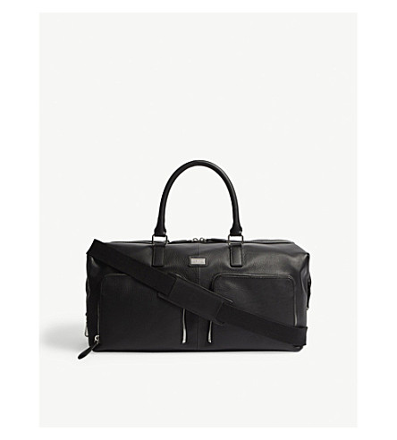TED BAKER Finlee pebbled leather holdall (Black