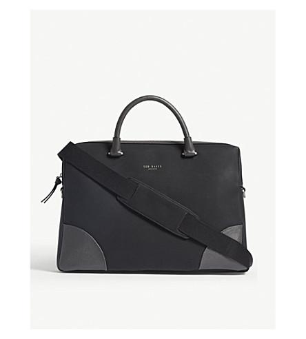 TED BAKER Nubuck leather document bag (Black
