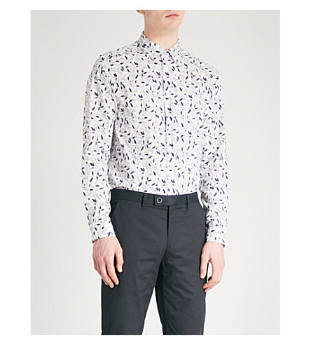TED BAKER Aqulina floral-print regular-fit cotton shirt (White