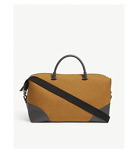 TED BAKER Swipes nubuck leather holdall (Natural