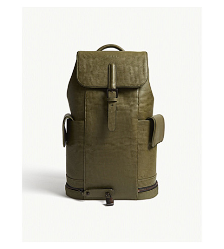 TED BAKER Thorr leather backpack (Olive