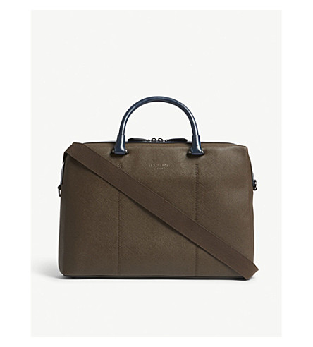 TED BAKER Trough Saffiano leather document bag (Chocolate