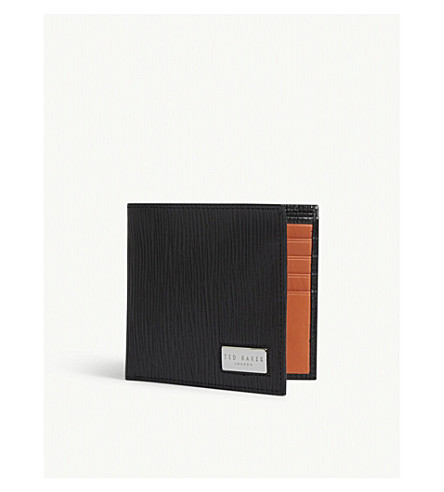 TED BAKER Wood-grained leather wallet (Black
