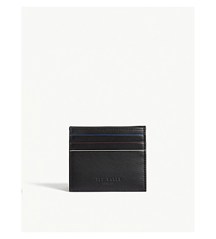 TED BAKER Striped piping leather card holder (Black