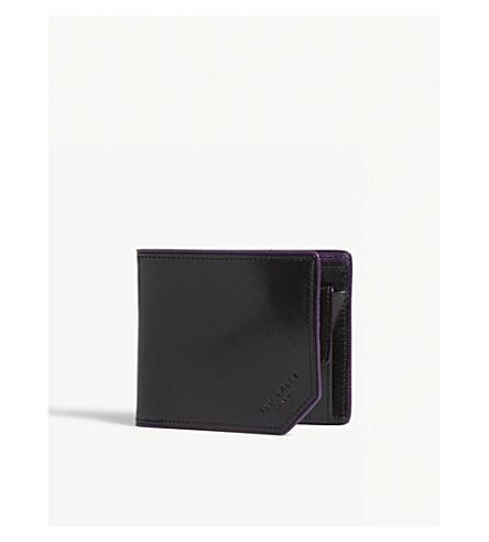 TED BAKER Corner detail leather bi-fold wallet (Black