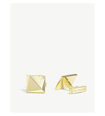 TED BAKER Baile crystal square cufflinks (Gold+colour