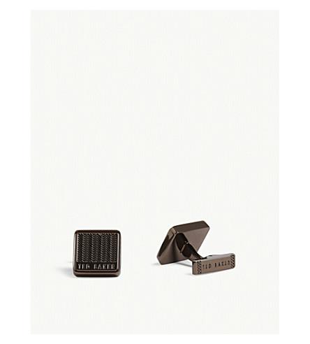 TED BAKER BRAIDY herringbone cufflinks (Chocolate