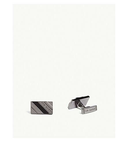 TED BAKER Ceaser striped rectangular cufflinks (Gunmetal