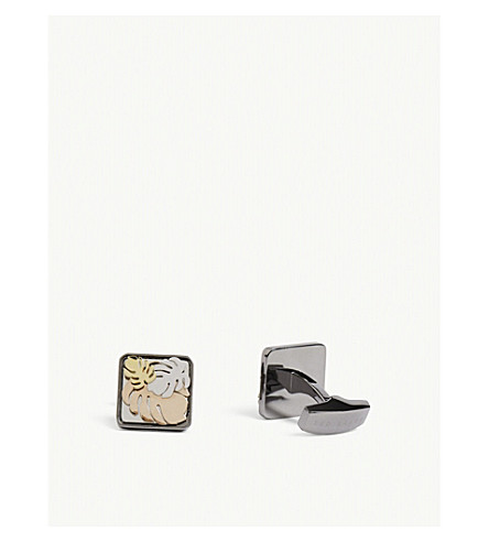TED BAKER GOALS stainless steel and brass floral decoration cufflinks (Gunmetal