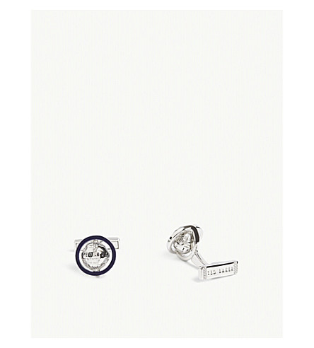 TED BAKER Keepup spinning globe cufflinks (Silver+colou