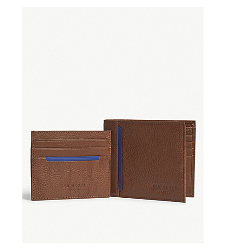 TED BAKER Leather wallet and card holder gift set (Tan