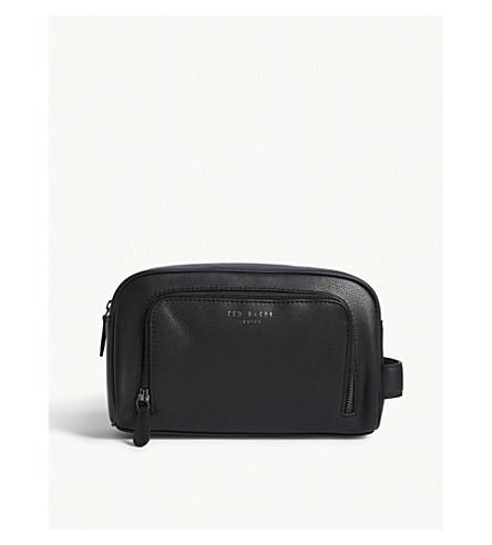 TED BAKER Colour-block leather wash bag (Black