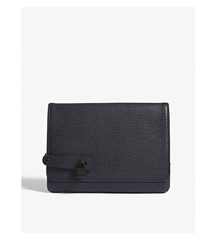 TED BAKER Organ leather document holder (Navy