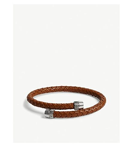 TED BAKER Knurling woven leather bracelet (Dark+orange