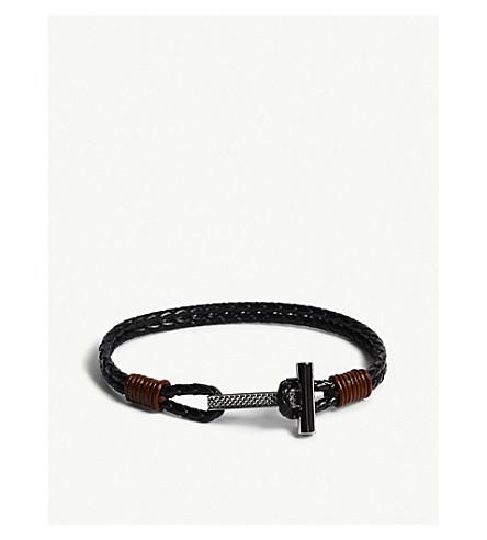 TED BAKER Knurling double loop braided leather bracelet (Black