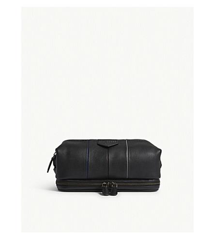 TED BAKER Striped detail leather wash bag (Black
