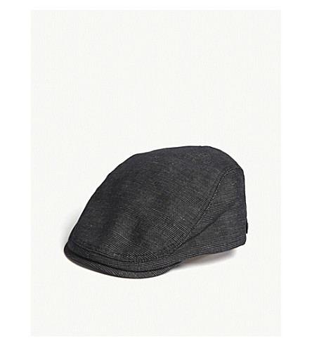 TED BAKER Cristan checked cotton and linen flat cap (Charcoal