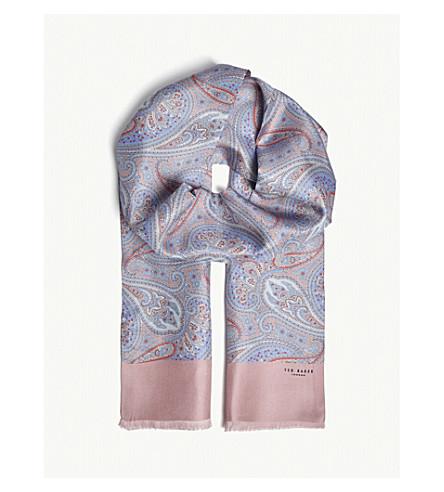 TED BAKER Ganic paisley-print silk scarf (Pink