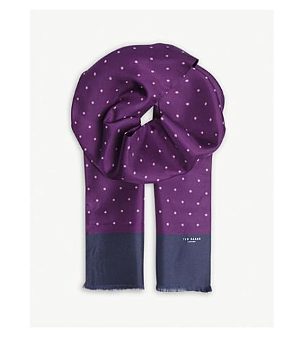 TED BAKER Mullus geometric-print silk scarf (Deep+purple