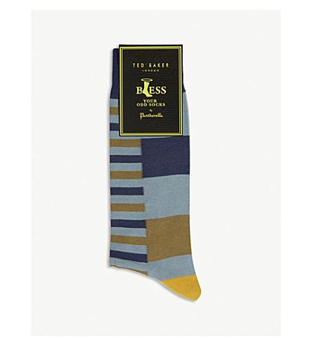 TED BAKER Walu Pantherella stripe cotton-blend socks (Light+blue