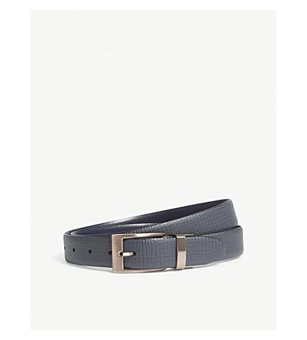 TED BAKER Kong reversible leather belt (Navy