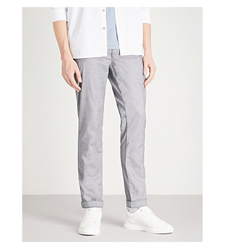 TED BAKER Sheppy slim-fit tapered cotton-blend trousers (Grey