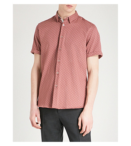 TED BAKER Franko slim-fit woven shirt (Deep+pink