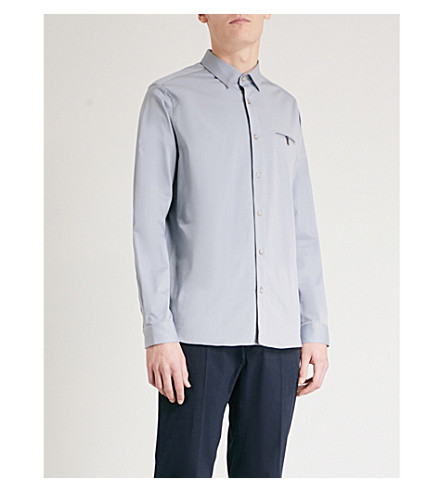 TED BAKER Classic-fit cotton-blend shirt (Blue
