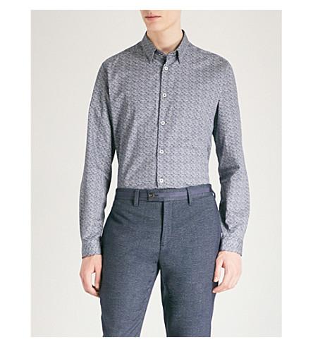 TED BAKER Modern-fit geometric-print cotton-poplin shirt (Navy