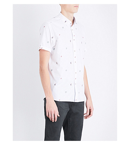 TED BAKER Tropical-pattern regular-fit cotton shirt (White