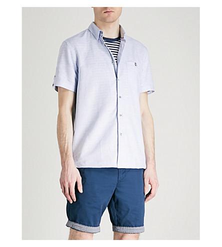 TED BAKER Regular-fit cotton and linen-blend shirt (Blue