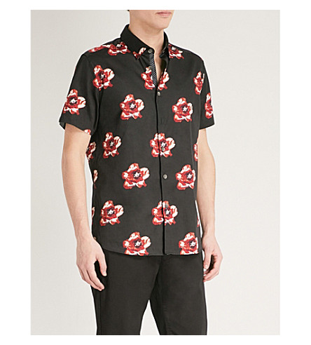 TED BAKER Silky floral-print cotton shirt (Navy