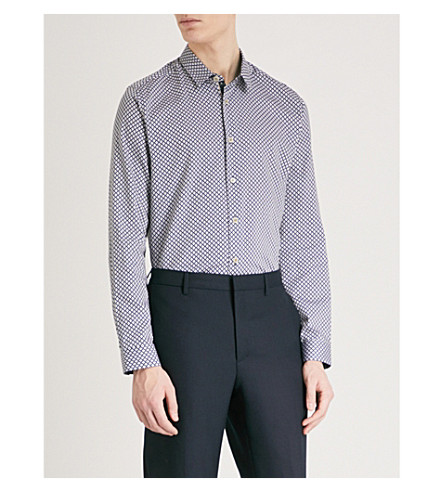 TED BAKER Contrasting print cotton shirt (Navy
