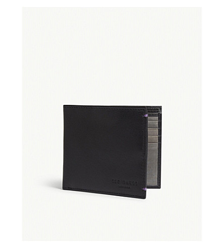 TED BAKER Leather bi-fold wallet (Black