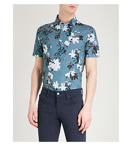 TED BAKER Scruff floral-print cotton polo shirt (Teal