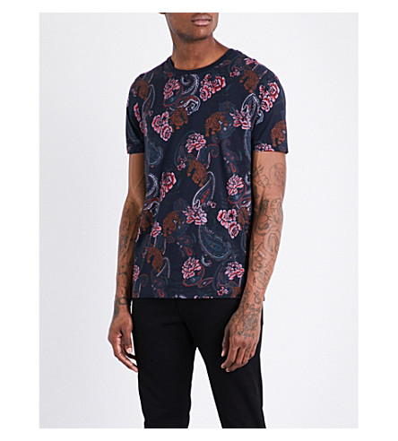 TED BAKER Tifoo paisley-patterned cotton T-shirt (Navy