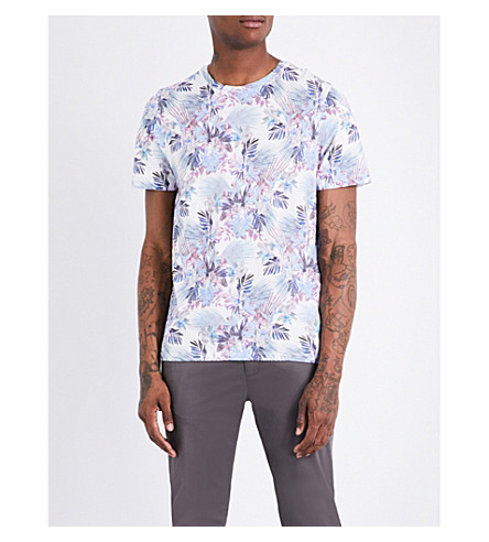 TED BAKER Driveup tropical floral-patterned cotton T-shirt (White