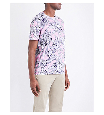 TED BAKER Floral-print cotton-jersey T-shirt (Pink