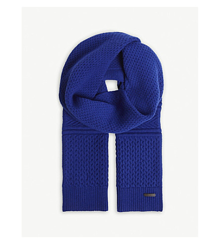 TED BAKER Elver knitted cotton-blend scarf (Blue