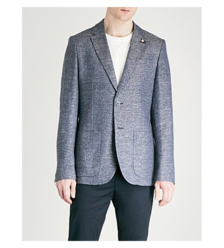 TED BAKER Cheea mouline linen and cotton-blend jacket (Blue